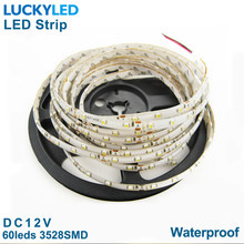 Impermeable 12v luz flexible 300 leds SMD blanco cálido amarillo azul verde rojo 5m tira de led 3528(China)