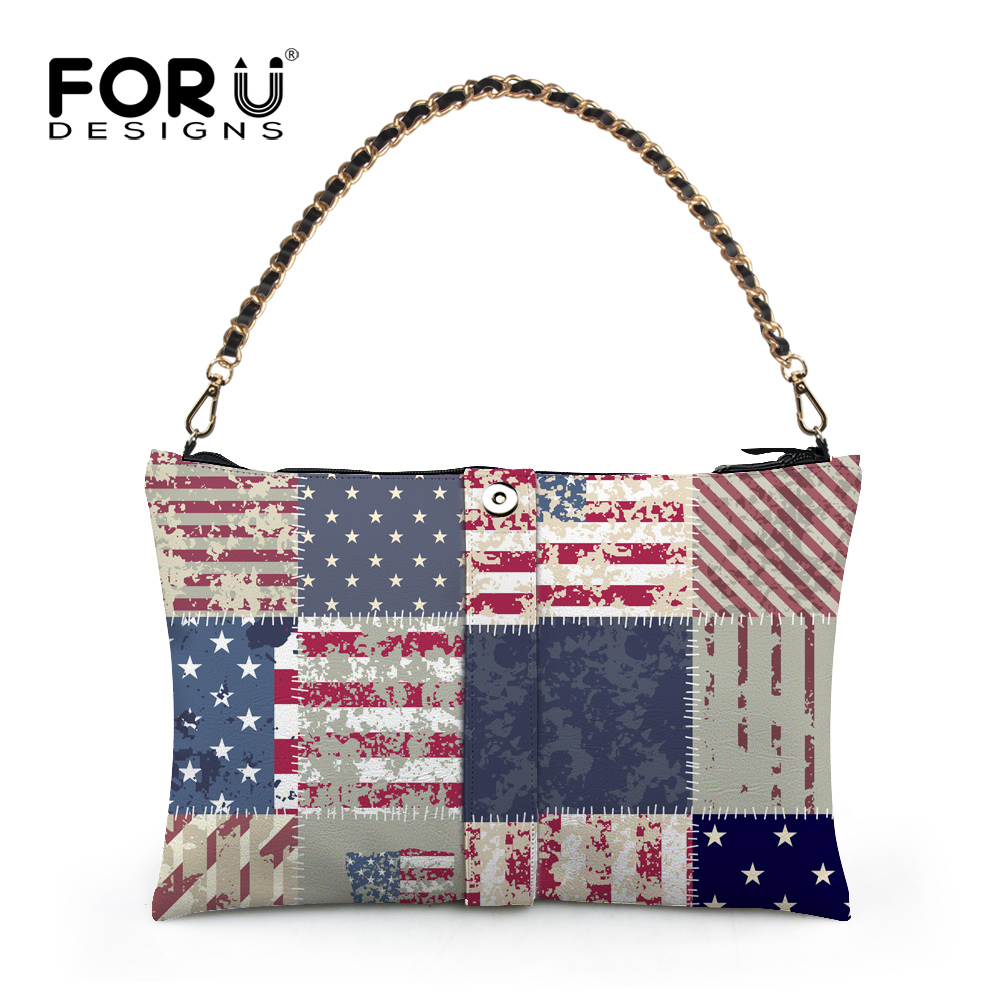 High Quality Women Chain Handbag Designer Uk Usa Flag Print Shoulder Bags Brand Casual Tote Female