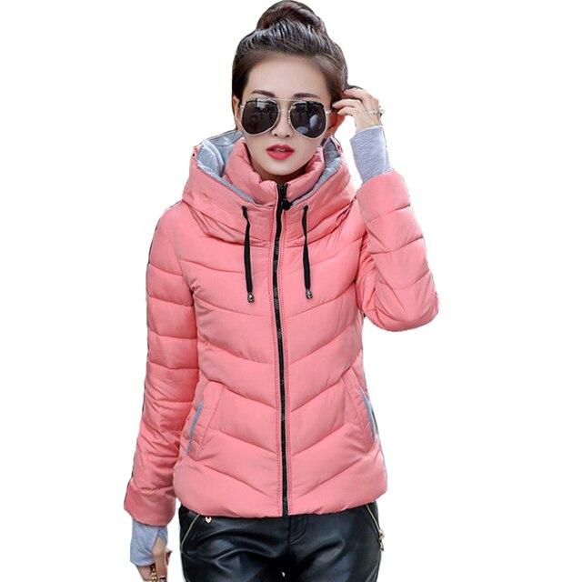2018フード付き女性の冬のジャケット短い綿パッド入りレディースコート秋casaco feminino inverno無地パーカースタンド襟