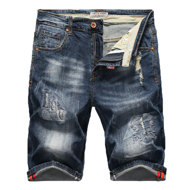 2019 Summer New Men's Stretch Ripped Jeans Shorts Fashion Casual High Quality Slim Fit Elastic Denim Shorts Male Brand Clothes
