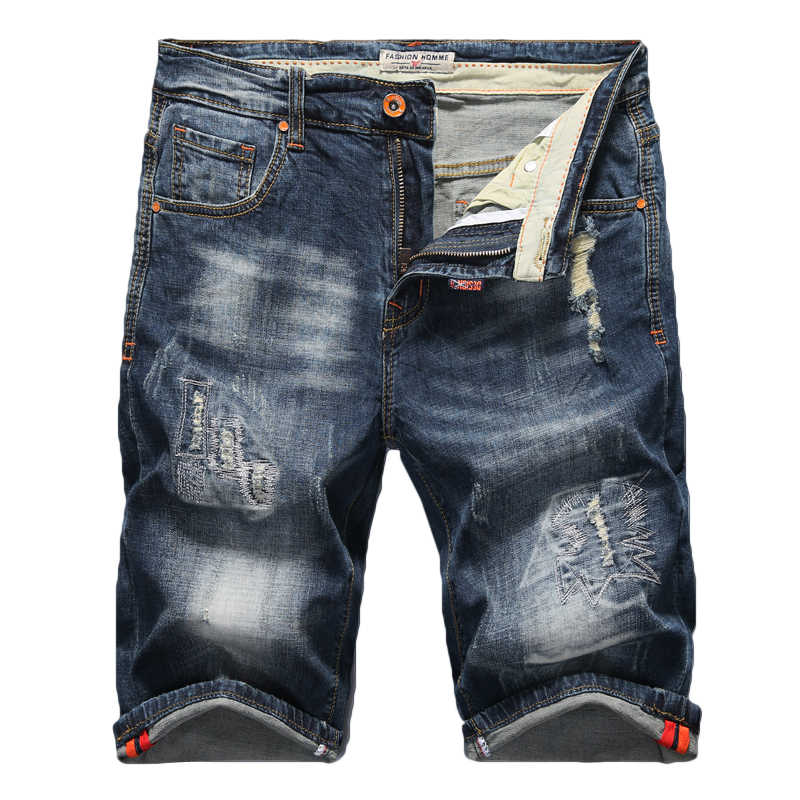 2020 uomini Nuovi di estate Stretch Jeans Strappati Shorts Moda Casual di Alta Qualità Slim Fit Denim Elastico Shorts Maschio di Marca vestiti