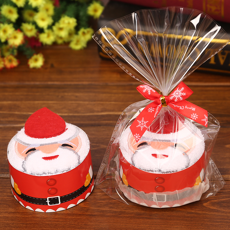 30pcs/lot Wedding Gifts For Guests Christmas Gift Creative Christmas Father Shape Cake Towel For Festival decorations