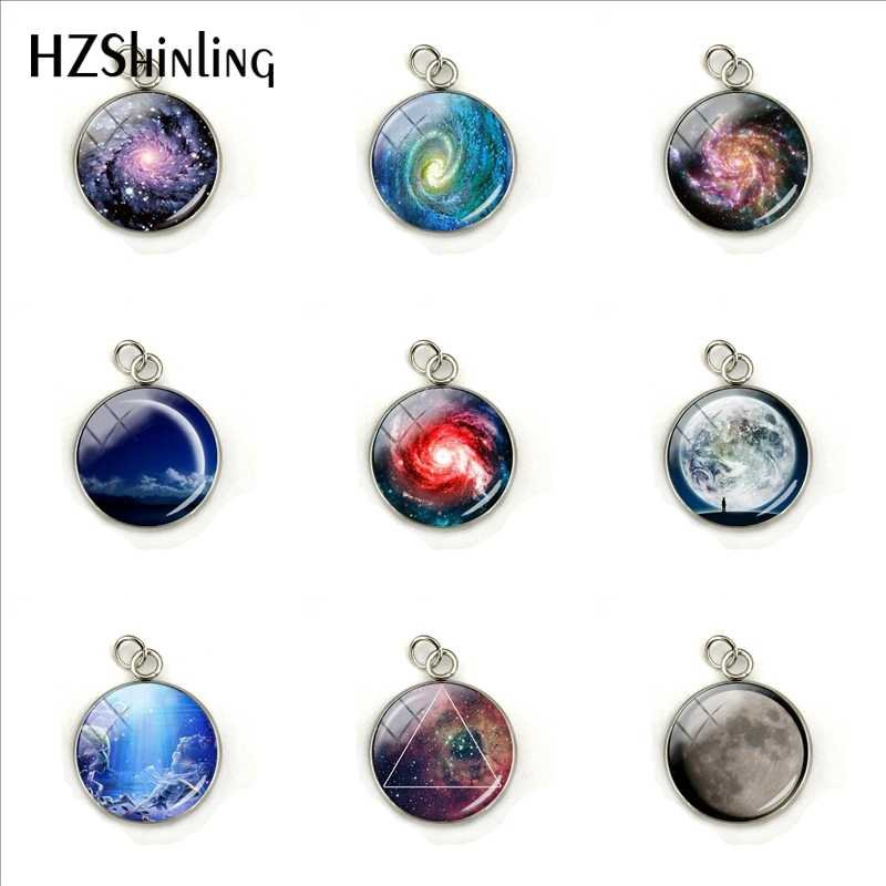 Nebula Space Pendant Astronomy Geek Jewelry, Nebula Charm Pendants Galaxy Space Necklace Glass Dome Stainless Steel Ornaments