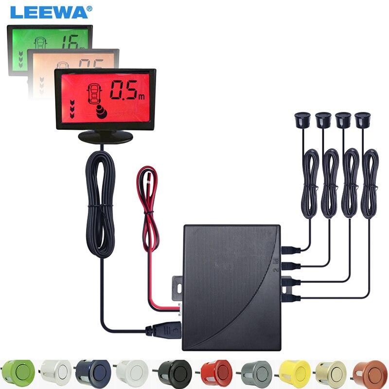 LEEWA voiture alarme couleur de fond en 3 étapes moniteur LCD sauvegarde aide à l'inversion système de capteur de stationnement # CA1813