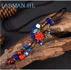 New version Ethnic style Cloisonne Necklace Wax line retro long paragraph sweater chain shell flower pendant