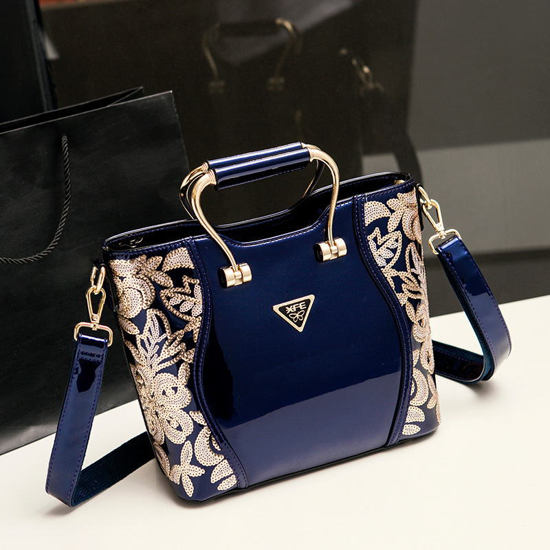 New designer high quality patent leather women handbags fashion sequin embroidery bag handbag shoulder messenger bags business luxury women bag new 2017 europe fashion sequin embroidery patent leather famous brands designer handbag women messenger bags