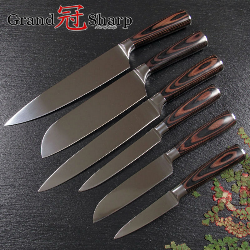 GRANDSHARP 7CR17 Stainless Steel font b Knife b font Set Chef Santoku Utility Slicing Paring font