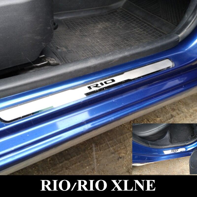 RIO Roestvrijstalen Instaplijsten Scuff Plaat Geschikt voor KIA RIO 2010-2019 Rio X Lijn RIO3 RIO4