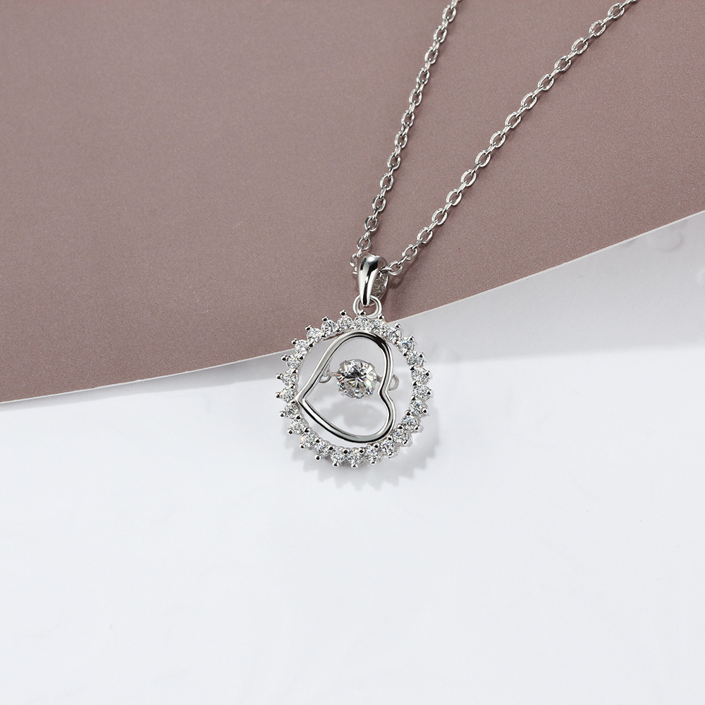 TOP17 women fine jewelry.super shiny love heart pendant,925 sterling silver necklace for beloved lady cute love heart hollow out kitten pendant necklace for women