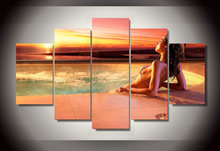 Framed Printed sexy woman relaxing in the pool Painting wall art room decor print poster picture canvas Free shipping/jjv-619