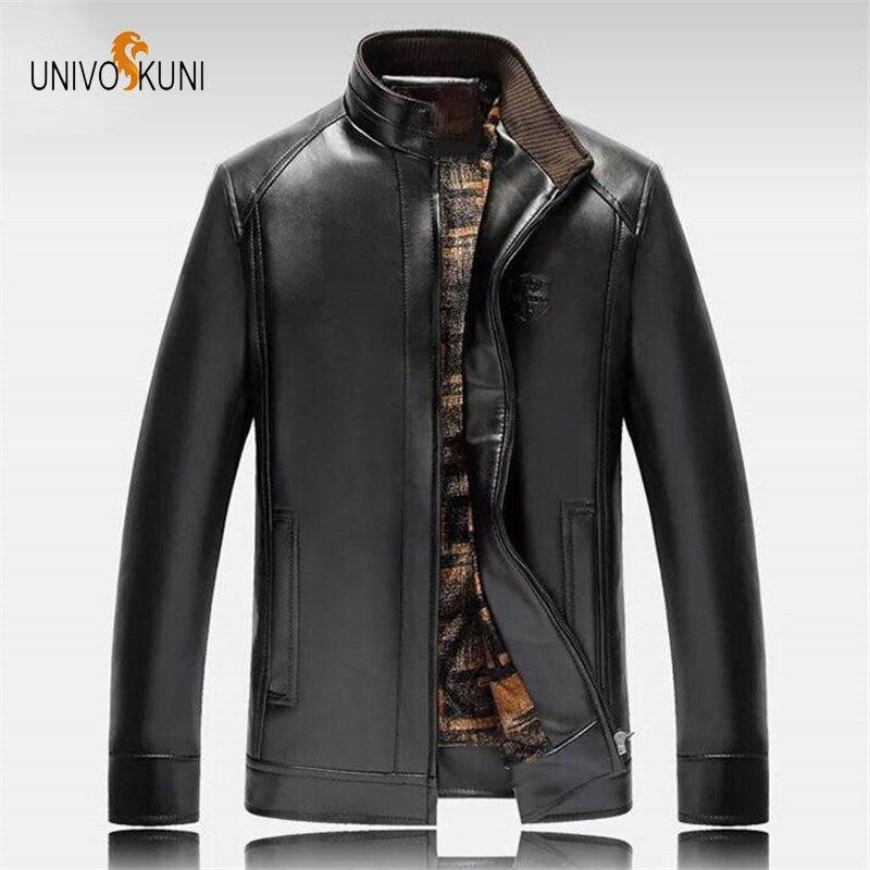 UNIVOS KUNI 2018 Automne Et Hiver Plus Épais Modèle Hommes En Cuir veste Plus Le Velours Casual Veste En Cuir Plus La Taille 5XL J41