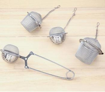 DHL free shipping 50 pcs/lot ball shape Tea Infuser bucket-Shaped 304#Stainless Tea strainer Infuser Spoon Filter