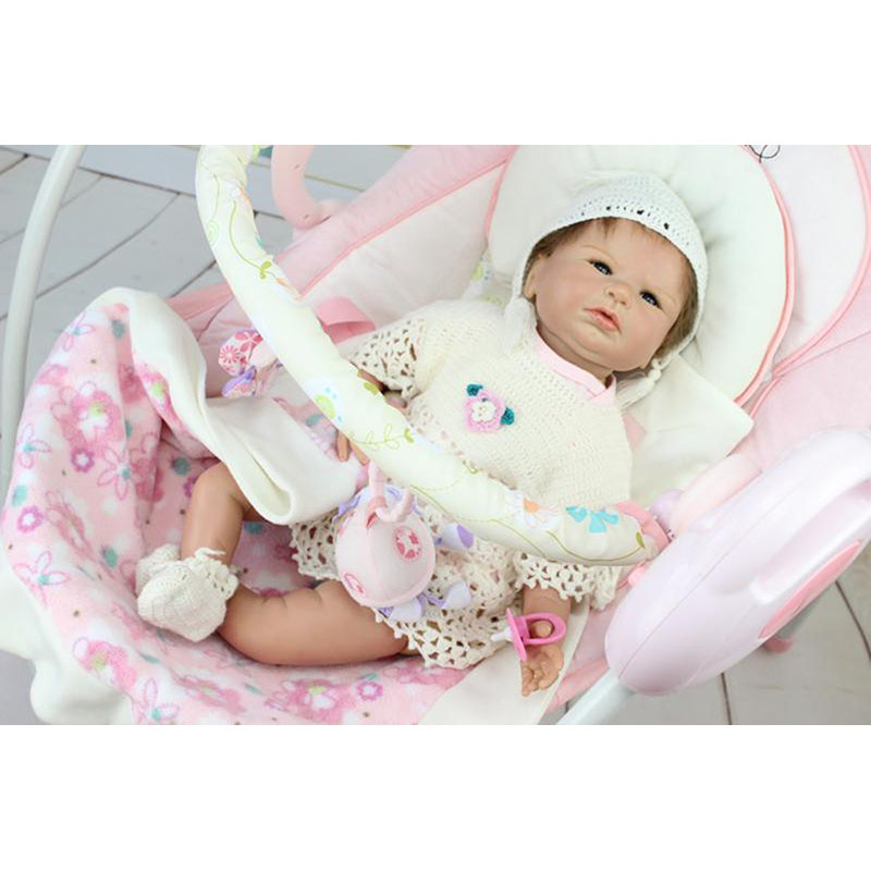 New Design 22 Inch Dressed White Skirt Reborn Baby Doll Girl Soft Silicone Real Life Baby Dolls Kids Toy For Sale Birthday Gifts hot sale 2016 npk 22 inch reborn baby doll lovely soft silicone newborn girl dolls as birthday christmas gifts free pacifier
