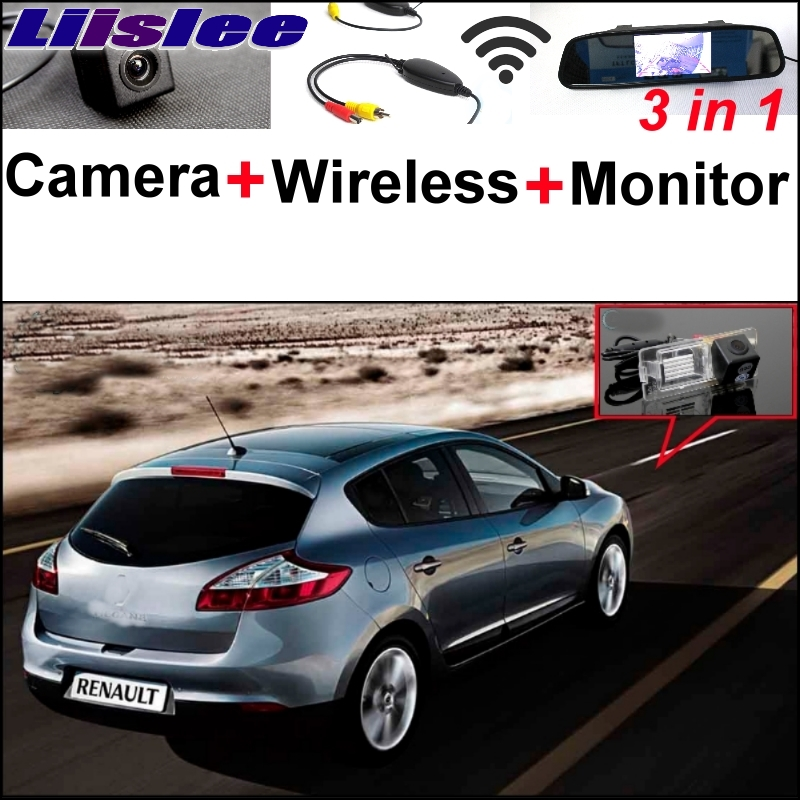 Liislee 3 in1 Special Rear View Camera + Wireless Receiver + Mirror Monitor DIY Parking System For Renault Megane II III 3 in1 special rear view camera wireless receiver mirror monitor easy diy backup parking system for jeep liberty 2002 2007