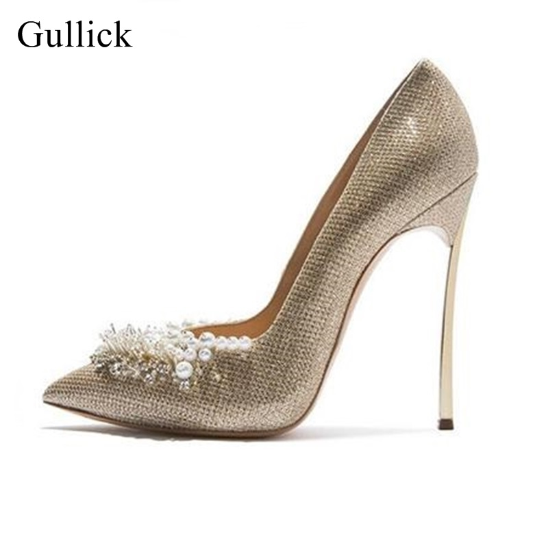 Sexy White Pearls Bead High Heel Pumps For Women Pointed Toe Slip-on Wedding Dress Shoes Bride Heels Lady Pumps Big Size 10 sexy pointed toe glitter high heels pumps pointed toe blade heels women party dress shoes slip on bride heels pumps