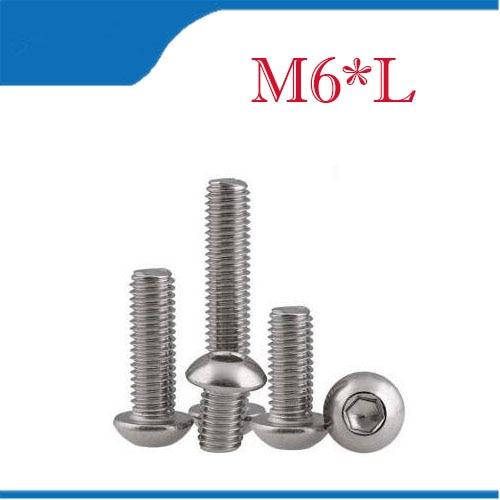 M6 Bolt A2-70 Button Head Socket Screw Bolt SUS304 Stainless Steel M6*(8/10/12/14/16/20/25/30/35/40/45/50/55/60~100) mm 50pcs flange washer socket button head screw m3 m4 m5 m6 304 stainless steel a2 washer head hexagon socket button head screw