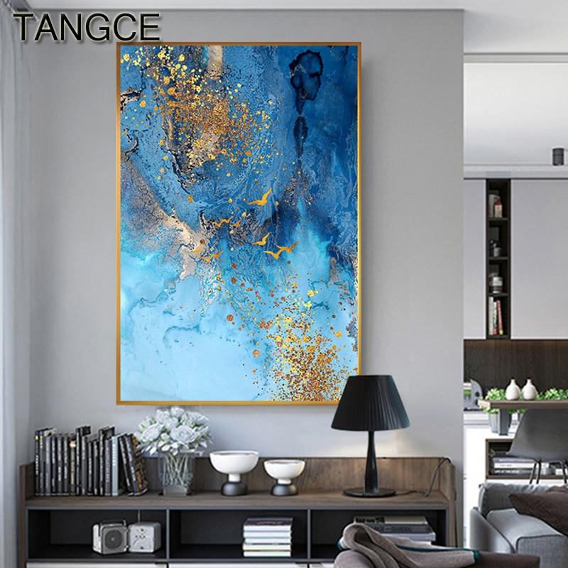 Soyut altın folyo tuval boyama mavi baskı posteri büyük duvar sanat resmi oturma odası için İskandinav Tableaux soyut mavi afiş