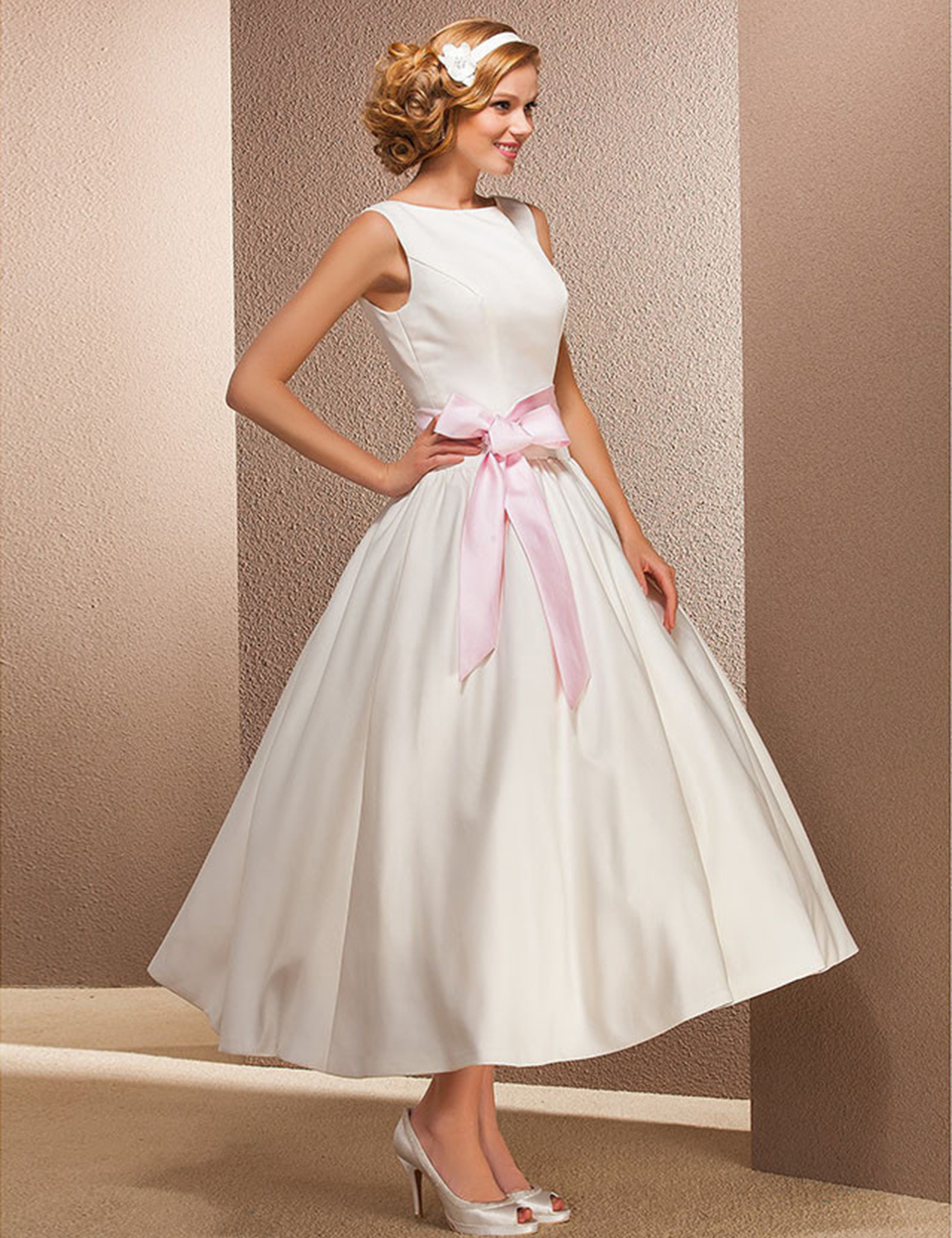 6de4a4c875f Vintage Short Ivory Satin Wedding Dresses Boat Neck Tea Length Wedding Dress  With Pink Ribbon Ball Gown Bridal Dresses PA54-in Wedding Dresses from  Weddings ...