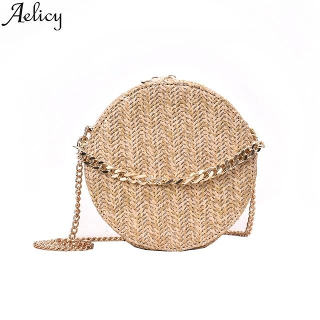 Aelicy Beach Bag Summer Mini Retro Handmade Messenger Bags Straw Bag Girl Round Rattan Bag Wavelet Simian Shoulder