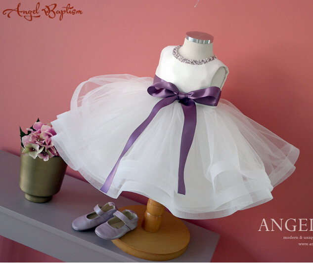 цены Bling purple beads sash Flower Girl Dress infant christening dresses baptism gown ball gown tea-length baby 1 year birthday gown