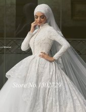 Saudi Arabic Lace Ball Gown Muslim Wedding Dress with Hijab High Neck Long Sleeve Middle East Dubai Bridal Wedding Gowns Dresses