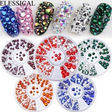 ELESSICAL 16 Colors Flatback Crystal Nail Rhinestones 3D Set For Manicures Tools DIY Art Decorations In Wheel WY1108-WY1123