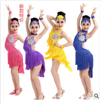Free shipping 110-160cm rumba latin dance dress tango samba  blue yellow pink competition  professional girl child  costume