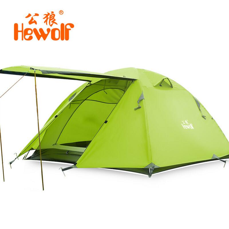 Hewolf Waterproof Camping Tents Double Layer 3- 4 Person Outdoor Family Hiking Beach Travel Tent  4 Season Fishing Hunting Tent new outdoor 3 4person big space anti uv pyramid beach tents waterproof family camping tent