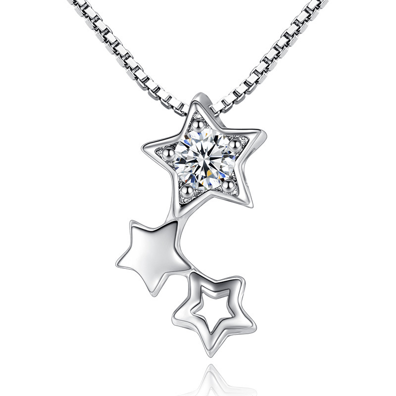 2017 Hot Sell Fashion Shiny Crystal Star Design Women Bijoux Sweater Pendant Jewelry All Match Elegant AAA Cz Stone Necklace