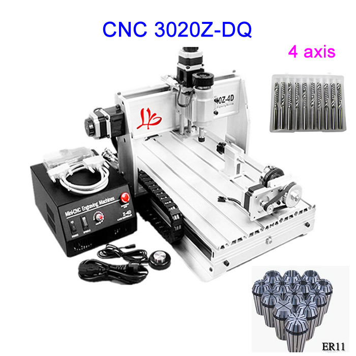 цены  Free shipping ! 4 axis CNC Router 3020Z-DQ Engraving machine with Ball screw with free cnc router bits