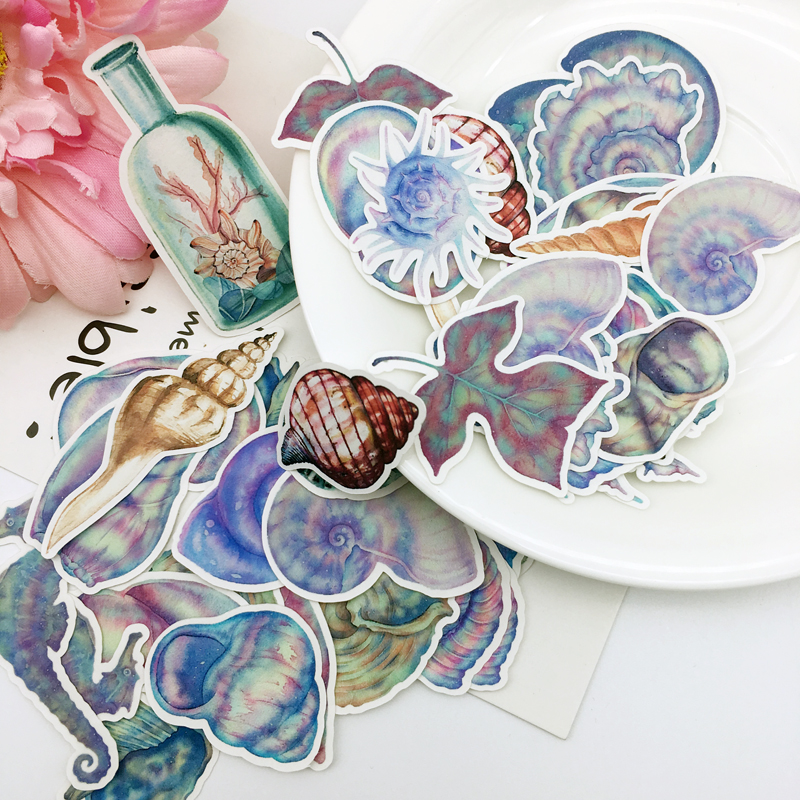 46pcs New Cute Sea Shell Paper Stickers Crafts And Scrapbooking Decorative Seashell Sticker DIY Lovely Stationery