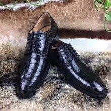 Настоящая крокодиловая кожа, блестящая черная кожа, мужская обувь, прочная крокодиловая кожа, мужская модельная обувь, официальная обувь