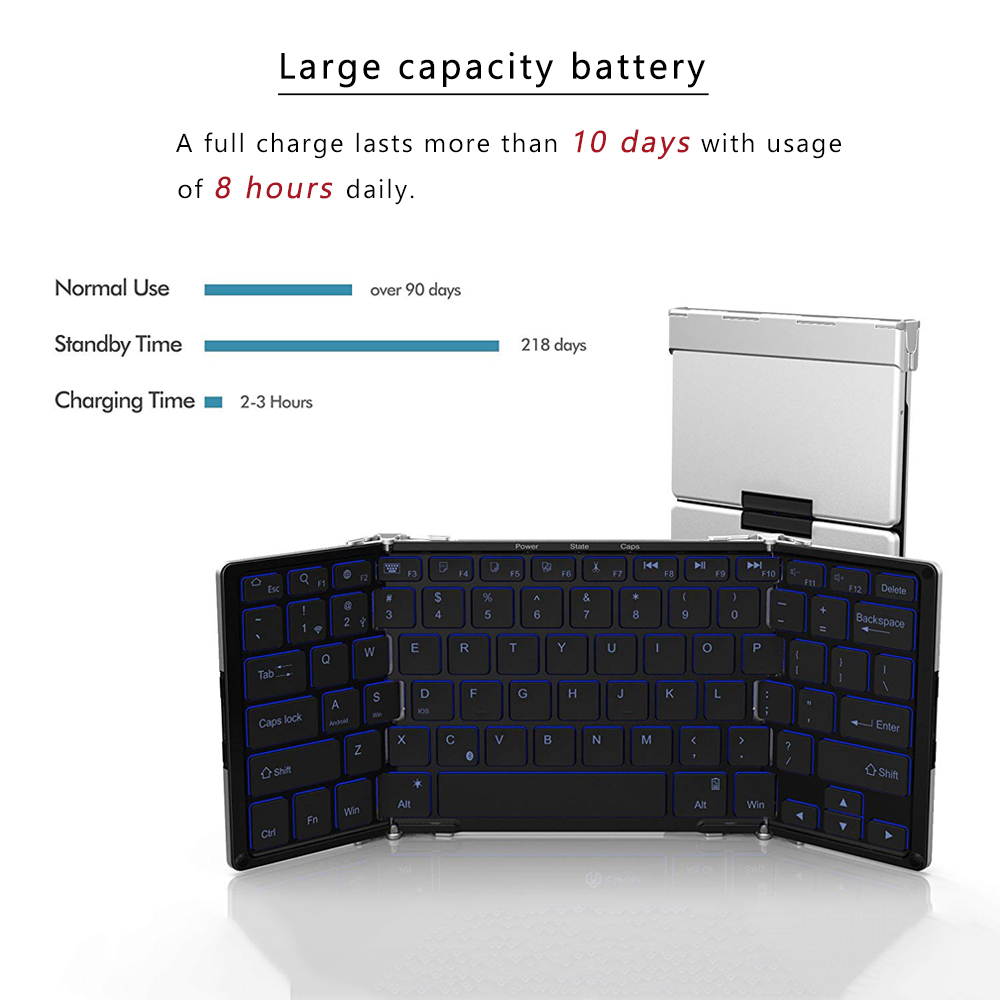 Image 3 - AVATTO Aluminum alloy Portable Folding Bluetooth Keyboard, BT wireless Backlit mini Tablet Keyboard For IOS/Android/Windows ipad-in Keyboards from Computer & Office