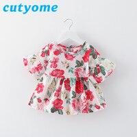 2017 Summer Baby Girls Floral T Shirts Toddlers Kids Lotus Leaf Sleeve Ruffle Raglan Tee Tops Vestidos Little Princess Clothing