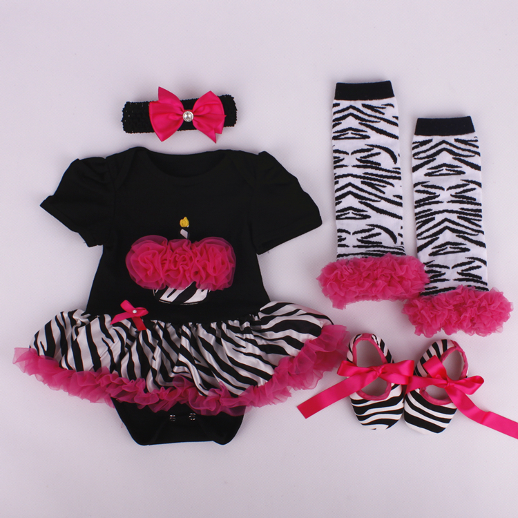 219bd2f67b33f 4PCs per Set Infant Lace Romper Black Birthday Cake Baby Girls Tutu Dress  Headband Shoes Leggings for 0 12months Free Shipping-in Dresses from Mother  ...