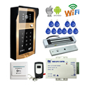 Free Shipping RFID Code Keypad Wifi Video Intercom Door Phone Waterproof Metal Doorbell for Android IOS Phone Magnetic E-Lock