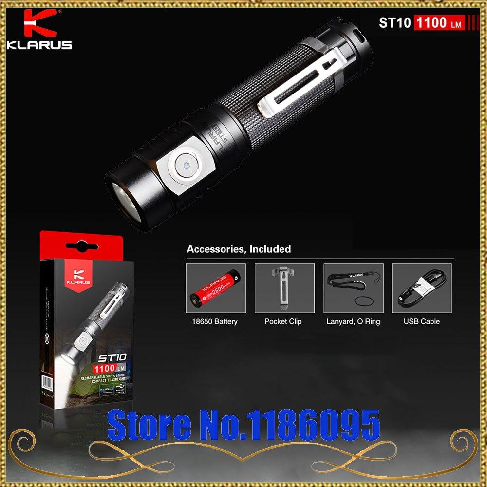 Date KLARUS ST10 CREE XM-L2 U2 LED 1100 Lumen Rechargeable Super Lumineux Compact lampe de Poche par 2600 mAh 18650 Li-ion batteries