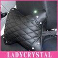 Ladycrystal Strass Cristal Luxo Travesseiros Carro Pescoço Encosto de Cabeça Do Carro Pescoço Travesseiros de Couro Preto PU