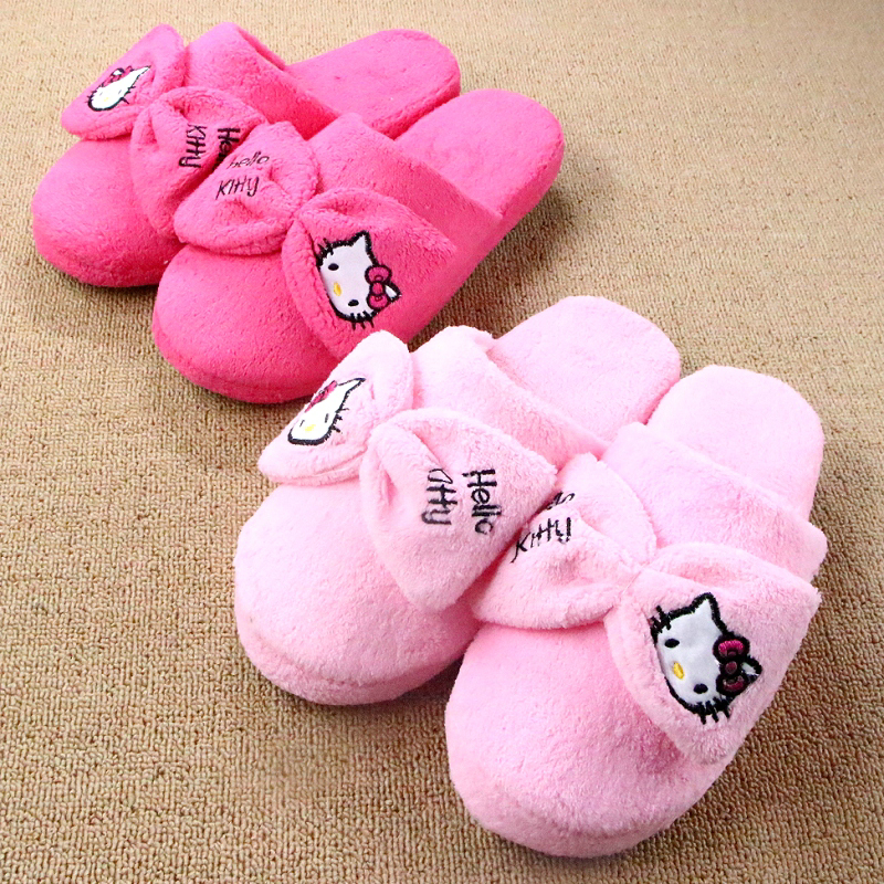 Winter Home Slippers For Women Hello Kitty Cotton Slippers Winter Cute Cartoon Slippers Bow Plush Floor Pantoufle Femme Pantufa