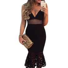ZTVitality 2017 Black Lace Hollow Out Sleeveless V-Neck Backless Vestido De Festa Fashion Women Dresses Sexy Slim Party Dress