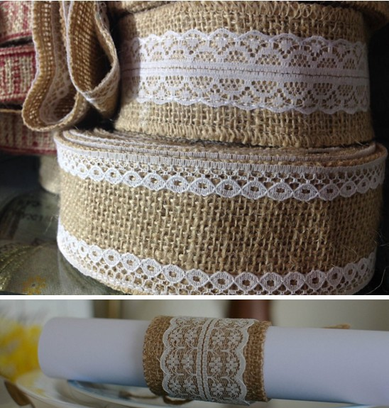 New year Natural home decoration wedding party decorations burlap wreath Jute Burlap Ribbon Lace Craft Gift Wrap(50MMwidth)