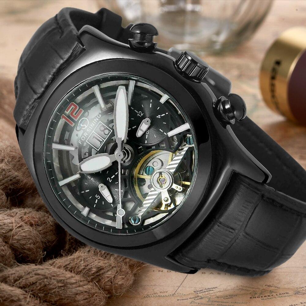Forsining montre homme Tourbillon squelette noir bracelet en cuir véritable montre-bracelet automatique FSG9414M3