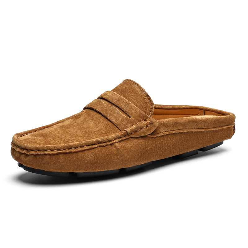 Man Genuine Leather Loafers Summer Male Moccasins For Men Casual Shoes Soft Masculino Breathable Mens Half Slipper Flock Flats