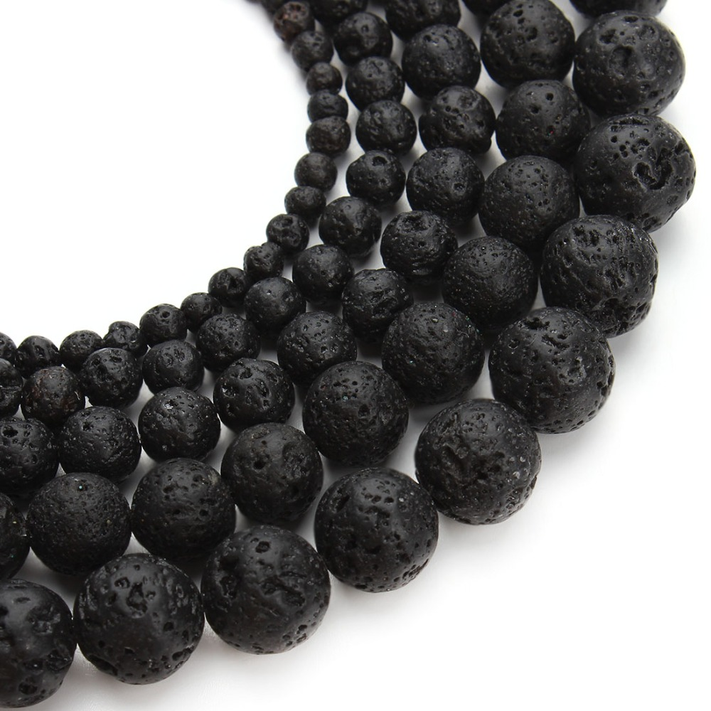 Top Quality Round Ball Black Natural Stone Lava Bead Volcanic Rock Loose Beads 4mm 6mm 8mm 10mm 12mm DIY Bracelet Jewelry Making