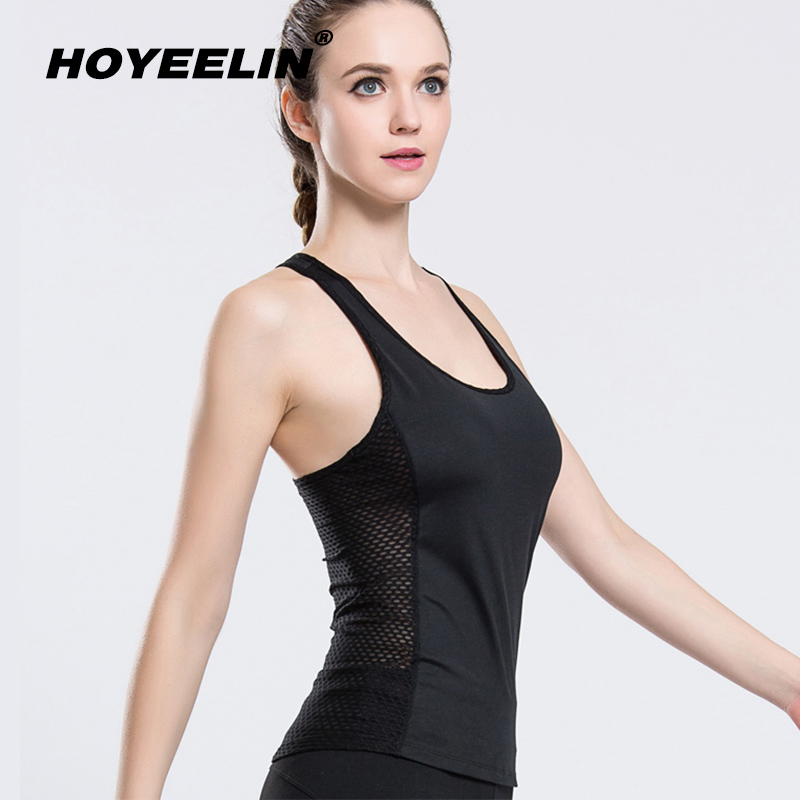 HoYeeLin Yoga Shirt Backless Mesh Sports Shirts Female Running Tank Top Women Gym Fitness Workout Sporty Top For Women Sportwear