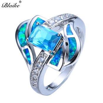 af4ca692790b Blaike azul de joyería de ópalo de fuego de anillo para los hombres y las  mujeres de lujo 14KT oro blanco lleno de piedra de cristal de boda anillos  de ...