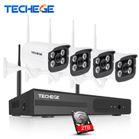 Techege 4CH Wireless NVR Kit Plug And Play 720P HD Outdoor Night Vision 1 0mp Security