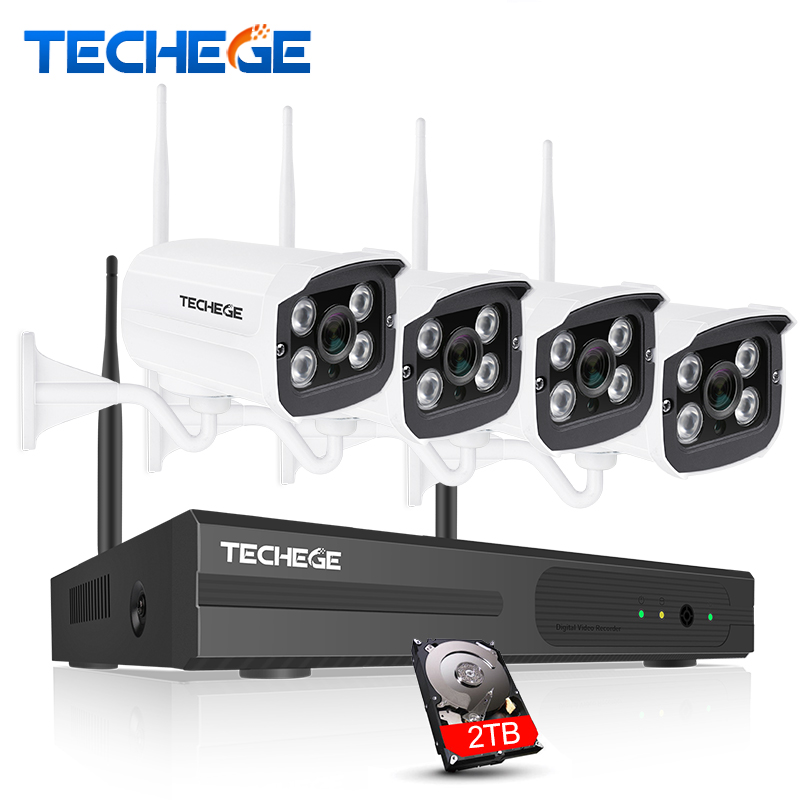 Techege 4CH 1080P Wireless NVR Kit Plug and Play Outdoor IP66 Night Vision 2.0MP WIFI Camera Surveillance CCTV System 1TB HDD
