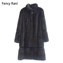 Высококачественная роскошная норковая шуба со стоячим воротником, Длинная зимняя куртка, теплая женская верхняя одежда из натурального меха, женская шуба из натуральной норки