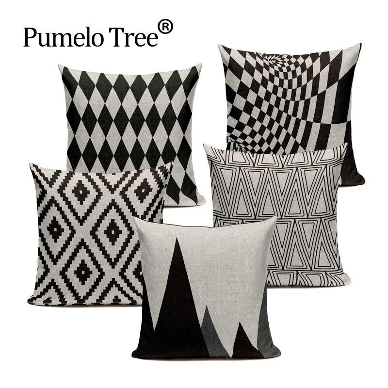 Chevron Black Linen Cotton Geometry Decor Throw Pillows Case Linen for Sofa Car Cotton Cushion Cover Creative Decoration Custom